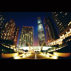 The Arch ([~Bryan~]) Tags: architecture night buildings hongkong apartment sony fisheye kowloon icc thearch westkowloon nex gettyimageshongkongmacauq1
