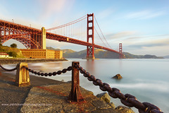 Suspensions - Golden Gate Bridge, San Francisco, California (PatrickSmithPhotography) Tags: ocean sanfrancisco california bridge sky usa cloud seascape art rock sunrise landscape concrete golden bay big rust gate iron long exposure unitedstates suspension marin chain goldengatebridge cables lee sausalito presidio marinheadlands stopper fortbaker