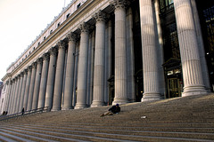 James Farley Post Office (Gary Burke.) Tags: city nyc newyorkcity ny newyork building architecture stairs canon eos rebel mail manhattan pillar columns postoffice steps bum midtown government column gothamist dslr pillars derelict hobo vagrant 8thavenue loiter jamesfarleypostoffice operationsantaclaus nationalregisterofhistoricplaces garyburke klingon65 t1i canoneosrebelt1i