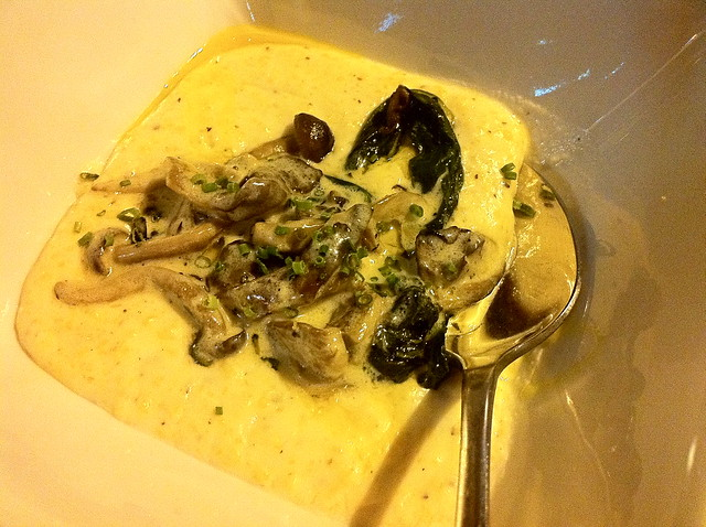Anson Mills Polenta w/ Creamed Mushrooms & Curry