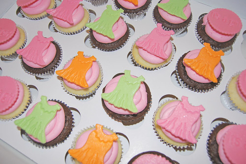 Baby girl dress and its a girl cupcakes for a sip and see pink green and orange