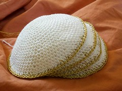 #1-4 (Knit n Frog) Tags: wedding white gold handmade metallic crochet cotton lara yarmulke dmc kippah elann antiquegold dmcthread