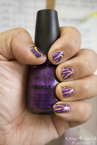 China Glaze Fault line crackle over Cosmetic Arts no name yellow polish