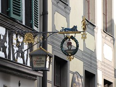 Medieval business sign (DCYVR) Tags: cruise river germany bavaria europe bamberg unesco rathaus rivercruise altes