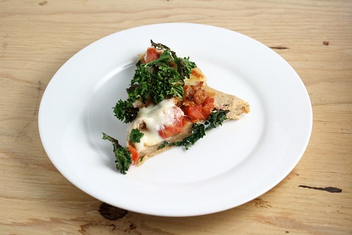 Sausage Pizza Topped with Crispy Kale
