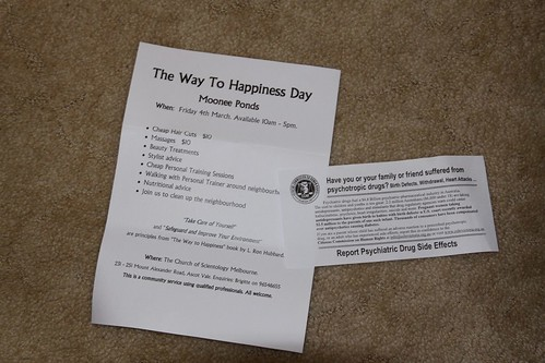 Collection of flyers from the Church of Scientology