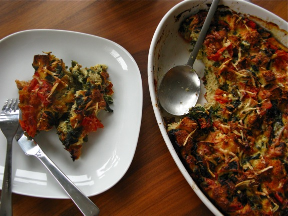 swiss chard tomato spinach asiago strata 006