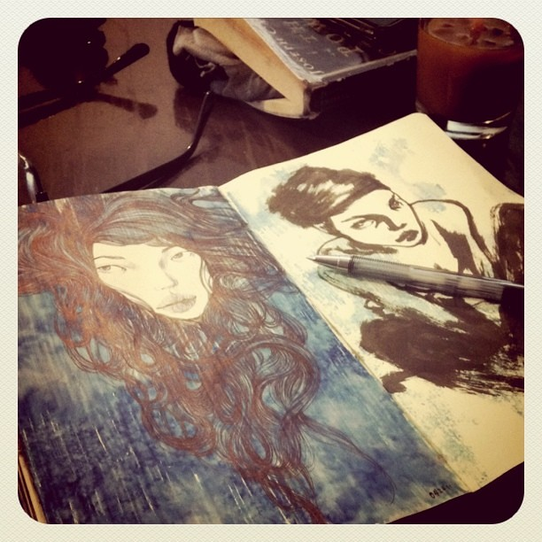 Sketching at the coffee house.