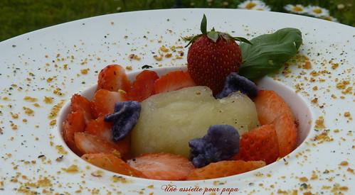 fraises et sorbet basilic-citron