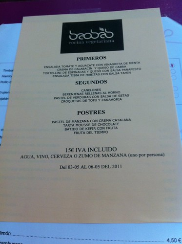 Zaragoza | Baobab | Menú