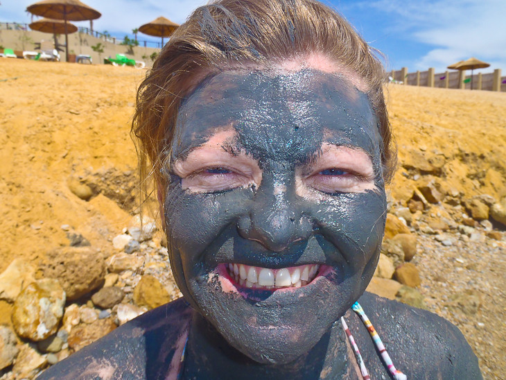 muddy face at the dead sea in jordan