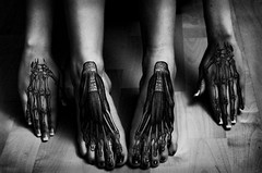 Underneath it all (shicoles) Tags: bw white black feet dark hands floor xray barefeet bone underneath hardwood tendons ligaments thesearenottattoos