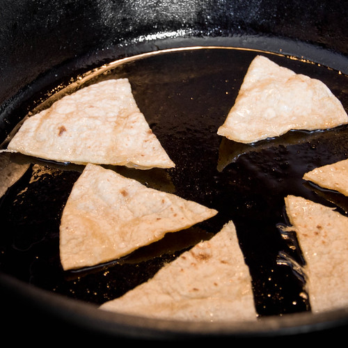 Frying Tortillas for Chilaquiles