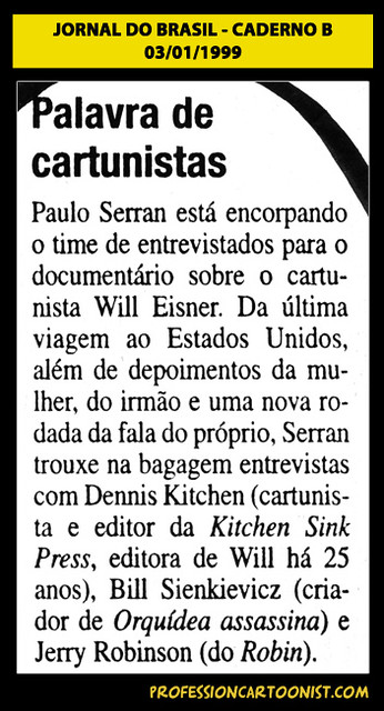 """Palavra de cartunistas"" - Jornal do Brasil - 03/01/1999"