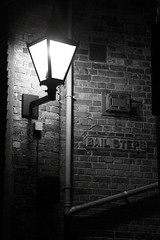 Bail Steps, Folkestone, UK (Barrydw) Tags: lighting light urban blackandwhite monochrome wall night buildings lights path bricks steps oldbuildings streetscene bail brickwork softlight folkestone the