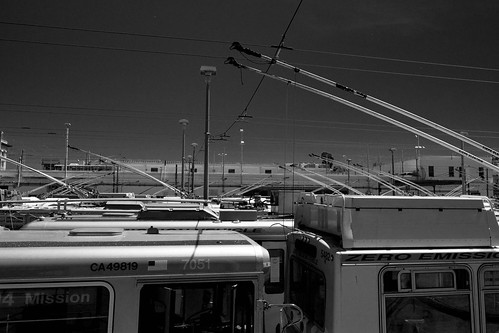 B/W Muni SF parked