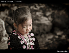 Don't Look Me Like Doll /  (AmpamukA) Tags: travel me look kid doll child sad dress hill north like mai dont thai tribe chiang hmong pui doi            ampamuka