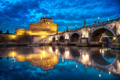 "Ponte Sant""Angelo - (Rome, Italy) (blame_the_monkey) Tags: travel bridge italy rome roma reflection history architecture photoshop photo nikon italia tripod wideangle pic architectural historic blended nik bluehour digitalphoto hdr highdynamicrange castel hdri blend topaz santangelo photoshopeffect postprocessing travelphotography pontesantangelo travelphoto photomatix digitalblending tonemapped tonemapping 1424 hdrphoto saintangelo niksoftware detailenhancer d700 topazadjust blamethemonkey elilocardi elialocardi"