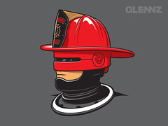 Robofireman (Glennz Tees) Tags: art nerd fashion illustration movie design funny geek drawing humor cartoon tshirt fireman illustrator draw popculture firefighter tee vector ai robocop apparel adobeillustrator glenz glennjones glenjones glennz gleenz glennnz