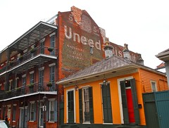 Uneeda Biscuit (pobrecito33) Tags: architecture la mural louisiana neworleans ad advertisement frenchquarter nola bourbonstreet crescentcity bigeasy uneedabiscuit bourbonst vieuxcarre dumaine nationalregisterofhistoricplaces nrhp