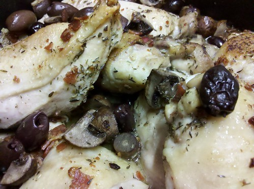 Chicken with olives and mushrooms