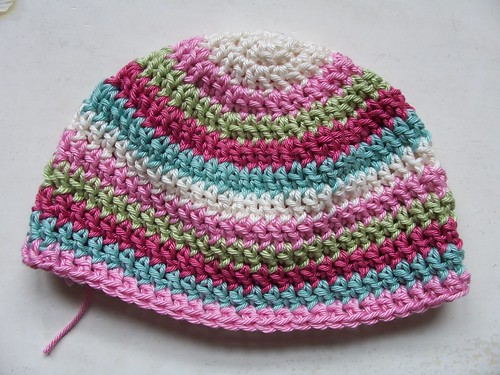 WIP baby hat, Patons/Cotton Glace