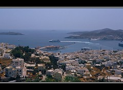 Syros (angelsgermain) Tags: houses sea summer port boats island town ship view harbour greece cyclades syros aegeansea anosyros kartpostal hermoupoli