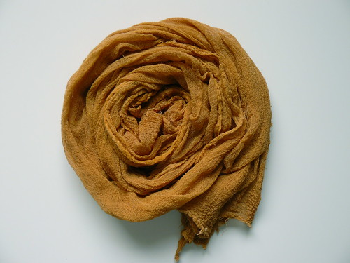 cotton gauze scarf dyed with onion skins