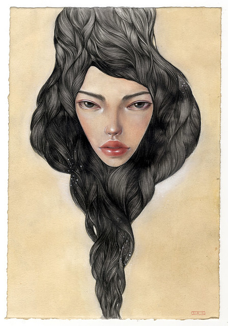 "Tonight. 9.5"" x 13"". Mixed Media (Graphite, Acrylic, Ink, Colored-pencil, Pastel) on Tea-stained paper. © 2011."