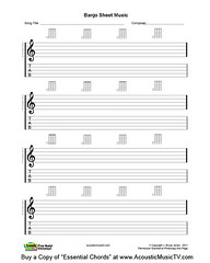 Essential Chords, Banjo Blank Sheet Music (J. Bruce Jones) Tags: banjo gclef musicstaff tablines printablesheetmusic jbrucejones acousticmusictvcom blankmanuscriptmusic chordboxes banjosheetmusic