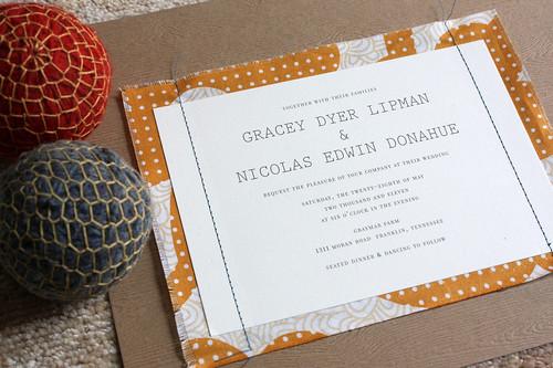 sewn invitation