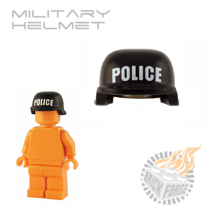 Military Helmet - Black (white POLICE print)