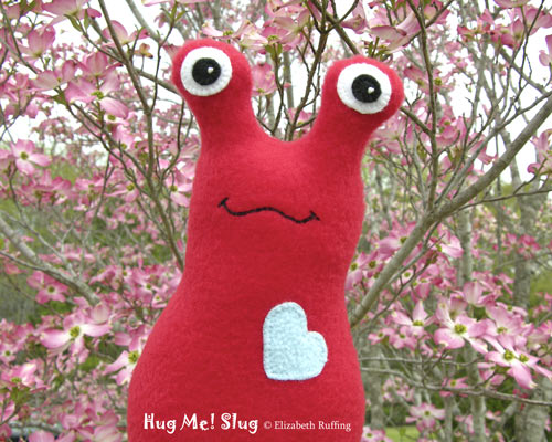Red Fleece Hug Me Slug by Elizabeth Ruffing