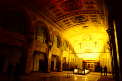 Central National Bank, Lobby (nmp.hotography) Tags: city light red people orange building abandoned tourism yellow architecture project advertising photography lights virginia nikon photographer shadows decay empty urbandecay photojournalism richmond lobby commercial 1855mm vcu archways lightshow rva f3556 centralnationalbank nmphotography d3100 thevacancyproject