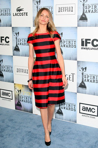 Cameron-Diaz-in-striped-Michael-Kors-dress-chs1