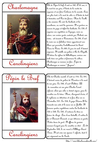 carte rois  Charlemagne pépin le bref