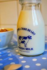 J'aime du lait ;) (Alittlepieceof) Tags: wood morning blue breakfast milk nikon nuts spoon bleu lait dots pois bois cuillre d3000