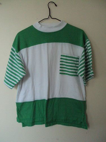 Boxy Striped Green and White Shirt