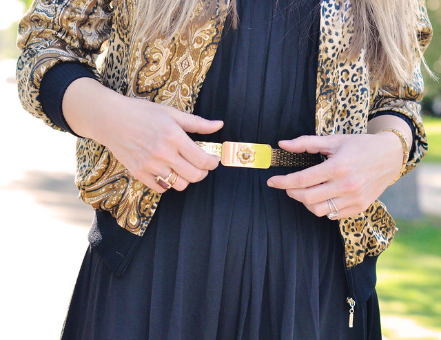 vintage gold belt and silk bomber jacket