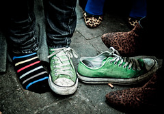 Leopards hunting a Zebra. (Louwuselchen) Tags: street city blue ireland red people dublin brown green feet colors socks 35mm foot cafe nikon ballerina shoes afternoon boots stripes sunday group hunting sneakers pinhole leopard converse zebra nikkor chucks d7000