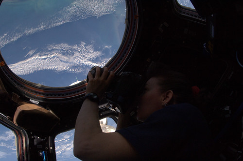Cady taking pictures in the Cupola