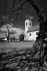 szentendre (wunderskatz) Tags: wood blackandwhite bw white black church monochrome saint parish john square hungary catholic shadows roman hu templom ter janos szentendre keresztelo szent plebania