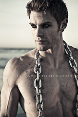 Allen Clippinger (Invicta's Art Photography) Tags: portrait man hot male men beach wet monochrome closeup dark chains still intense quiet adult modeling dirty strong strength hotmen malemodel eyeliner malemodeling hotman malemodels muscularmen dirtyman dirtymen menatthebeach muscularman