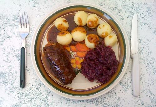 Roulade, Miniknödel & Rotkraut