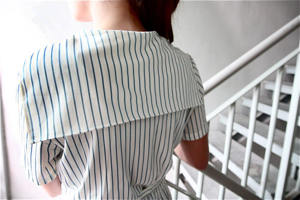 1960s baby blue striped sailor dress