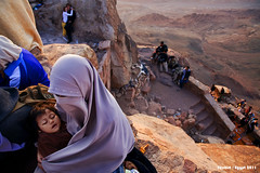 Bedouin's child (filchist) Tags: baby stairs sunrise women rocks egypt hijab niqab           mosesmountainpeak bedouinschild