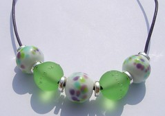 Spring Heather (Glittering Prize - Trudi) Tags: green glass greek cord necklace beads purple handmade jewellery trudi lampwork frit leatehr glitteringprize