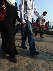 Couple (duralict) Tags: street travel england woman man london thames couple europe unitedkingdom candid muslim hijab 2011