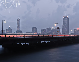 Lightning and Light Trails with Boston Skyline