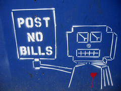 post-no-bills-bot (setlasmon) Tags: new york nyc streetart newyork photography graffiti robot seth photos manhattan walkabout photoediting postnobills newyorkers artart twitter rareform setlasmon sethalexanderlassman sethlassman setalexandor